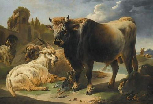 A-Rocky-Landscape-With-A-Bull,-Goat,-Ram-And-Sheepdog-Before-A-Set-Of-Ruins,-A-Shepherd-And-Flock-Beyond