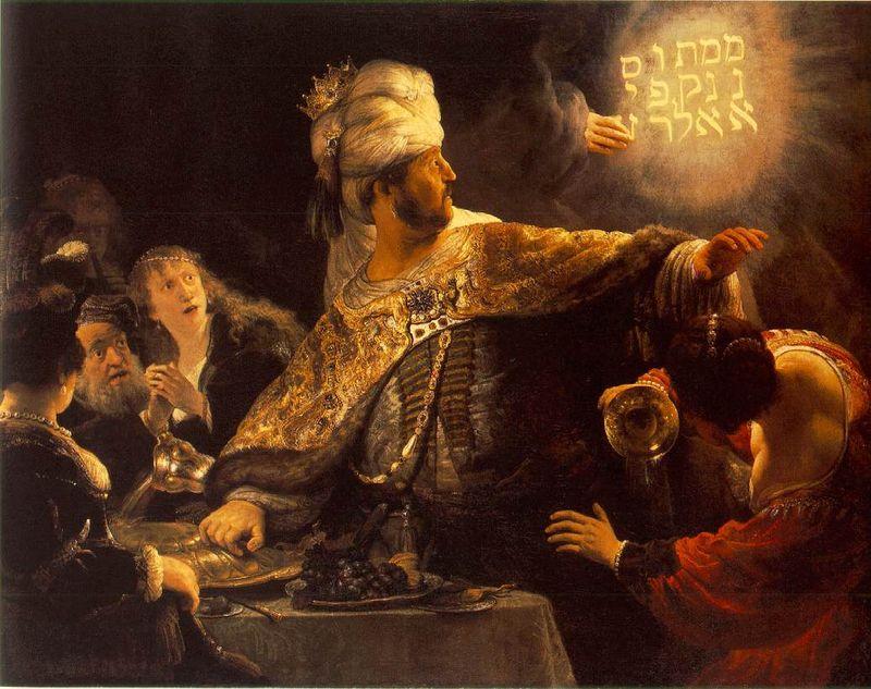 Belshazzar, Rembrandt, pub dom